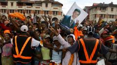 Des partisans d'Andry Rajolina célèbrent leur victoire