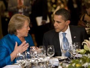 La présidente du Chili Michelle Bachelet et le président américain Barack Obama.
