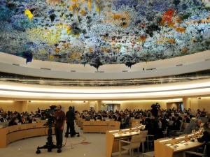 Le Conseil des droits de l'homme lors du débat sur la résolution vendredi