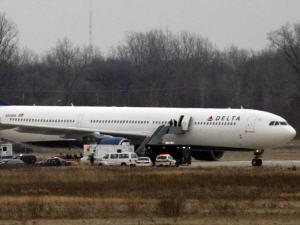 L'avion de Delta Airlines qui a été la cible d'un attentat déjoué le 25 décembre.