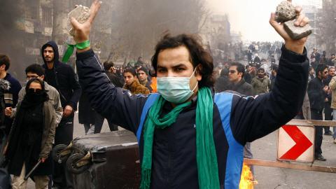 Un militant de l'opposition à Téhéran.
