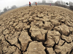 Le lac Hubei, dans la province chinoise du Henan, s'est asséché cette année.