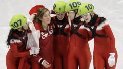 Kalyna Roberge, Valérie Maltais (réserviste), Marianne St-Gelais, Tania Vicent et Jessica Gregg