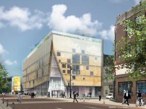 Le nouveau projet de l'édifice culturel du 2-22, au coin des rues Sainte-Catherine et Saint-Laurent.