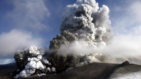 Volcan Eyjafjoll en avril 2010.