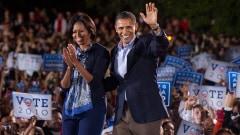 Barack et Michelle Obama lors d'un rassemblement à la Ohio State University à Columbus.