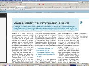 L'article dénonce les exportations d'amiante par le Canada.