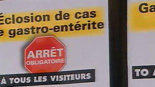 Affiche informant les visiteurs de l'éclosion de cas de gastro-entérite.