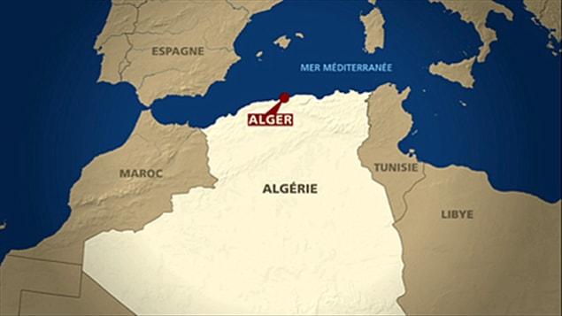 Carte d'Alger, en Algérie