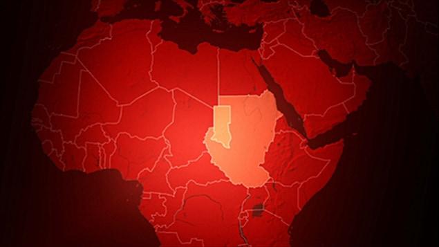 Le Soudan est le plus grand pays d'Afrique. On voit en plus pâle la province du Darfour.