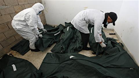 La morgue de l'hôpital de Benghazi s'est remplie de corps lors de l'insurrection de la mi-février.