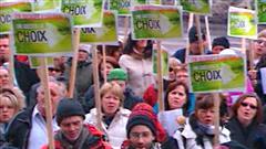 Manifestation de l'Alliance sociale à Québec à l'occasion du dépôt du budget