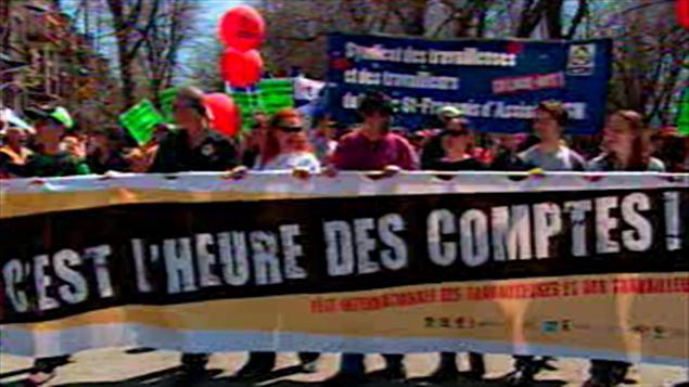 Manifestation à l'occasion de la Fête internationale des travailleurs