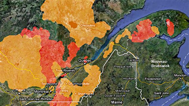 En rouge : les zones à risque d'inondation. En jaune: les zones à risque de fortes crues. En date du 6 mai.