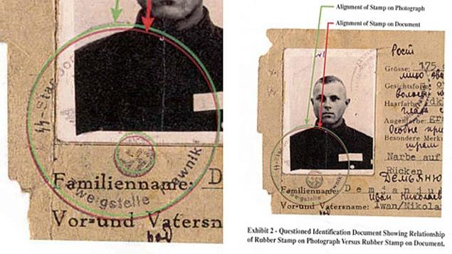 Cette photo d'une carte nazie délivrée au nom d'Ivan Demjanjuk a été éditée par le département américain de la Justice en 2002. Le département soulève un doute quant à l'authenticité du tampon.