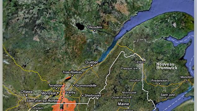 En rouge, les zones à risque d'inondation en date du 13 mai