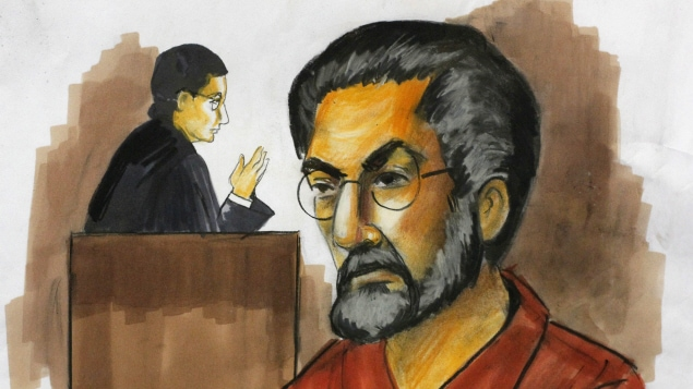 Dessin judiciaire de Tahawwur Rana réalisé en décembre 2009.