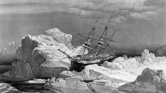 Dessin représentant le bateau de John Franklin dans l'Arctique