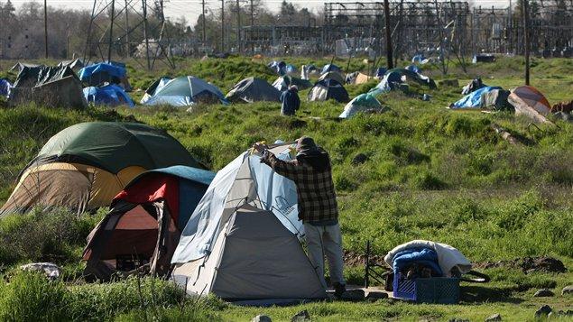 Un camp de sans-abri à Sacramento en Californie en 2009.