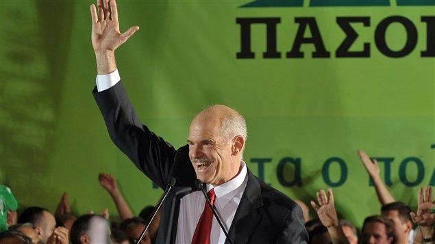 Le premier ministre grec, Georges Papandréou, lors de sa victoire aux élections de 2009.