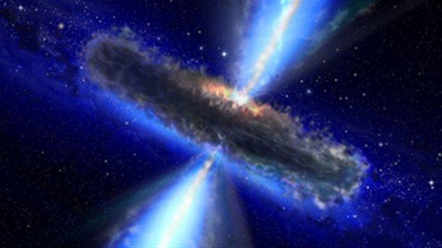 Représentation artistique d'un quasar similaire à celui observé