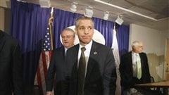 Le PDG de TransCanada, Russ Girling, lors d'une conférence de presse à l'Association américaine des manufacturiers, à Washington, le 7 octobre
