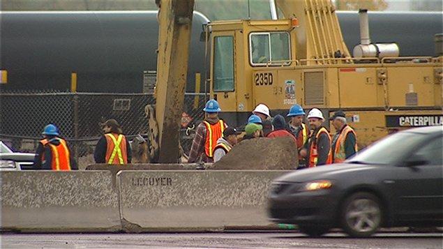 Chantier paralysé sur le chantier de l'avenue d'Estimauville à Québec