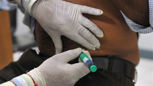 Une personne souffrant de diabète, dans un hôpital de New Delhi, en Inde.