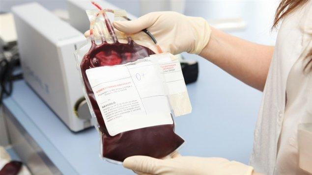 Du sang provenant d'une transfusion sanguine