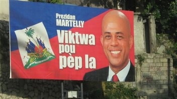 Panneau publicitaire de Martelly lors de la campagne présidentielle hiver 2011.