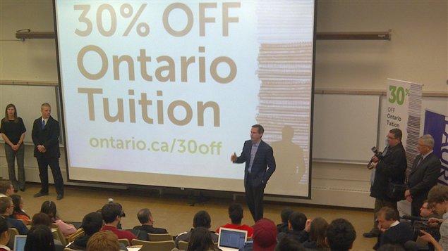 Le premier ministre Dalton McGuinty a fait l'annonce à l'Université Wilfrid Laurier