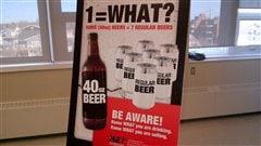 Une affiche explique les effets des bières les plus fortes