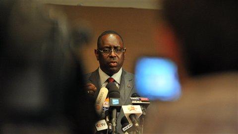 Le candidat à l'élection présidentielle sénégalaise, Macky Sall, en conférence de presse mercredi