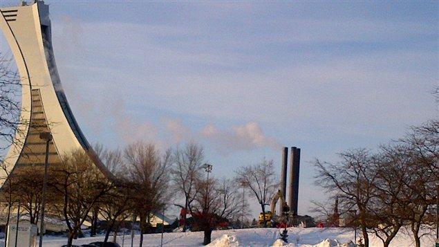 Travaux au Stade olympique, à Montréal
