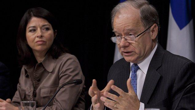 La ministre de l'Éducation Line Beauchamp et le ministre des Finances Raymond Bachand.