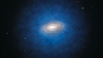 Vue d'artiste de la distribution de matière noire telle que nous l'imaginons autour de la Voie lactée