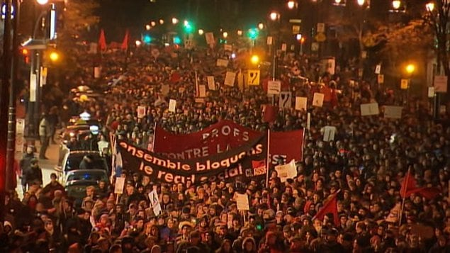 Manifestation contre la proposition de Jean Charest