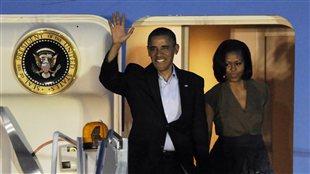 Le président américain Barack Obama et son épouse Michelle arrivant à Chicago pour assister au sommet de l'OTAN (19 mai 2012)