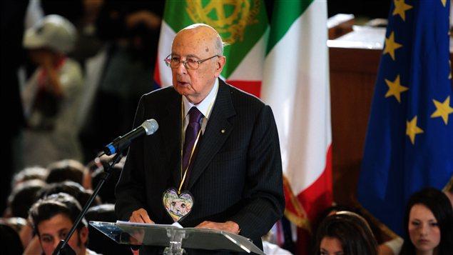 Le président italien Giorgio Napolitano à l'occasion d'une cérémonie rendant hommage au juge assassiné Giovanni Falcone.