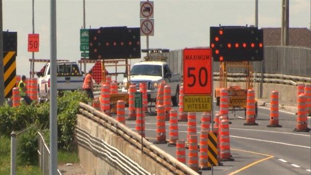 Un chantier routier de la région montréalaise.
