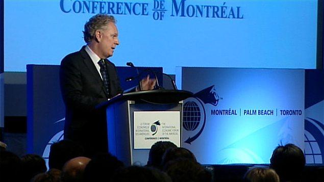 Le premier ministre du Québec, Jean Charest, au Forum économique international des Amériques