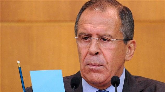 Le ministre russe des Affaires étrangères, Sergueï Lavrov, en conf/rence de presse, lundi 'a Moscou.