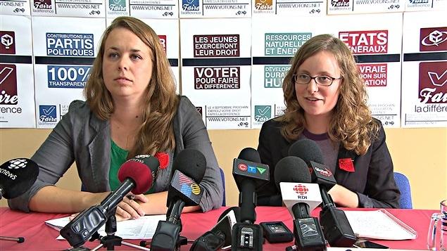 Les présidentes de la FEUQ et de la FECQ, Martine Desjardins et Éliane Laberge, lancent une campagne pour inciter les jeunes à voter.