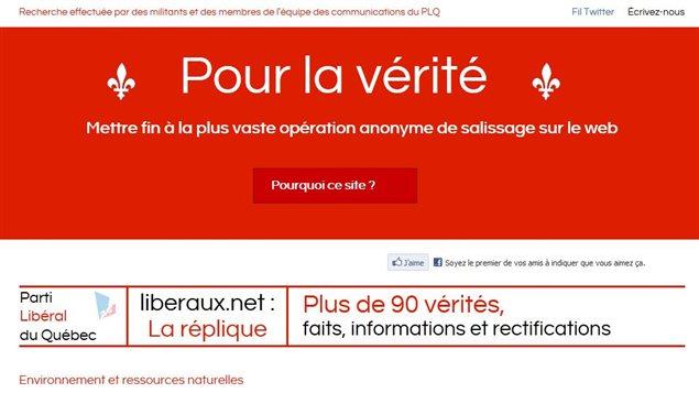 Le site « Pour la vérité » du PLQ en réplique à liberaux.net