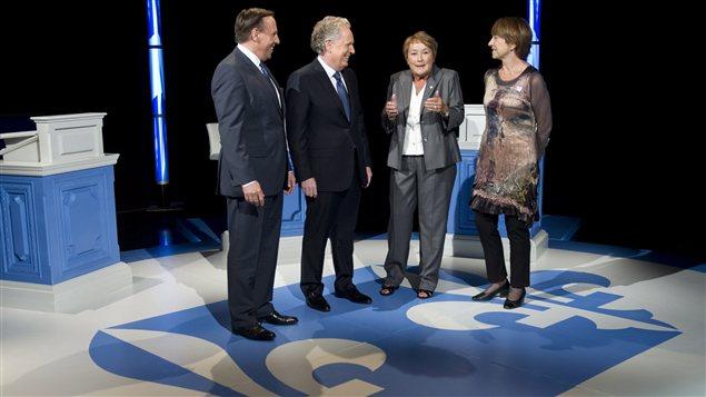 François Legault, Jean Charest, Pauline Marois et Françoise David.