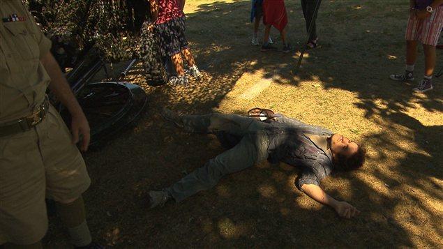 Die-in d'un manifestant