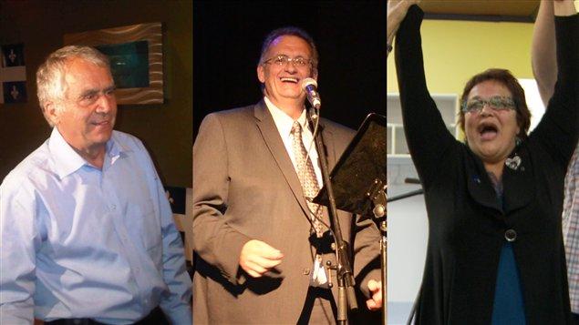 François Gendron (Abitibi-Ouest), Gilles Chapadeau (Rouyn-Noranda-Témiscamingue) et Élizabeth Larouche (Abitibi-Est)