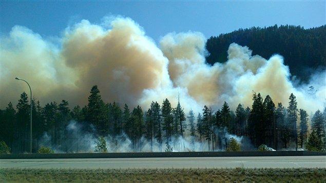 L'incendie de forêt le long de la route 97C dans l'Okanagan