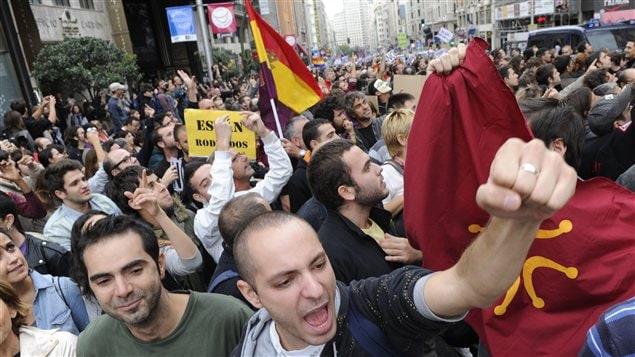 Manifestations à Madrid pour protester contre les mesures d'austérité mises en place par le gouvernement espagnol.