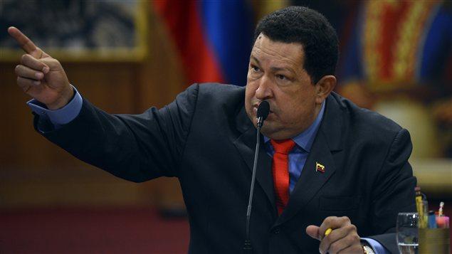 Le président Chavez lors de la rencontre avec la presse internationale.